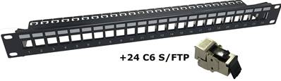 PANNEAU 24 PORTS CAT6 SFTP EQUIPE 24 EMBASES CAT.6 S/FTP