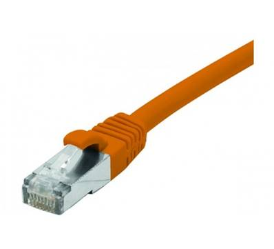 CORDON RJ45 CAT.6 F/UTP LSOH PROTEGE LANGUETTE 0.30M ORANGE