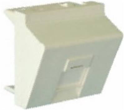 PLASTRON RJ45. 1 PORT. 45X45 INCLINE. ACCROCHE KEYSTONE